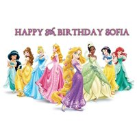 Disney Princess Personalized Cake Toppers Icing Sugar Paper A4 Sheet Edible Frosting Photo Birthday Cake Topper 1/4 47821
