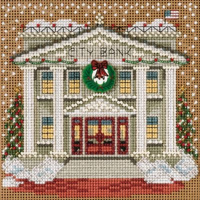 """City Bank Winter Buttons & Beads Counted Cross Stitch Kit-5.25""""X5.25"""" 14 Count"""