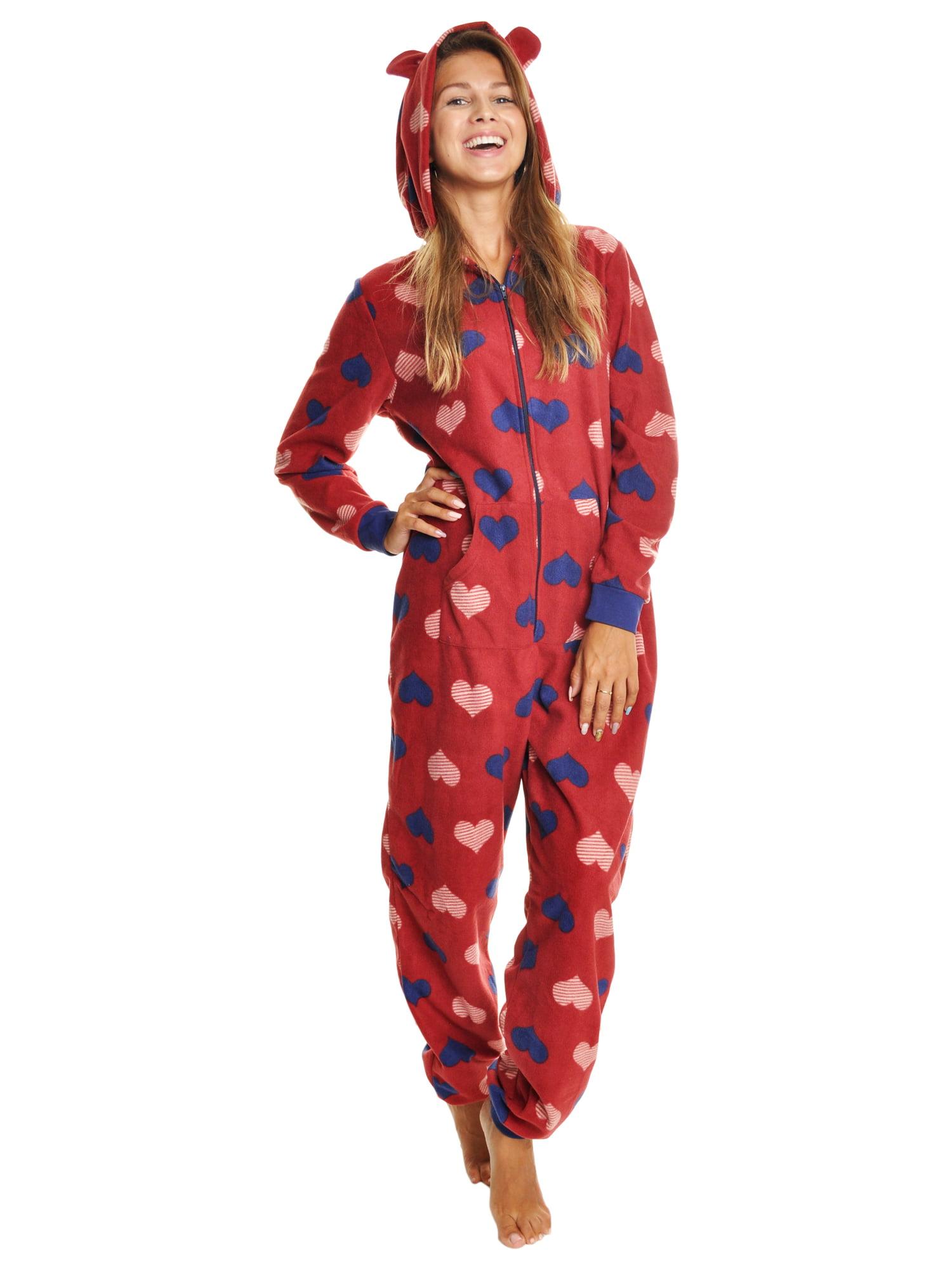 a82d1f0aef Angelina Women s FLEECE Novelty One-Piece Hooded Pajamas (1-Pack) -  Walmart.com