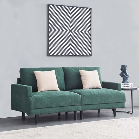 Mid Century Modern Couch, High End Fabric Contemporary Sofa Sets with Wood Legs, Comfortable Cushions, 2 Pillows, Sectional Sofa Bedroom Furniture, Loveseat Fabric Sofa for Small Space,Emerald, Q16971