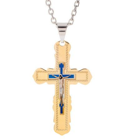 Brooklyn Exchange Two-Tone Stainless Steel Men's Greek Key Crucifix Rolo Chain -