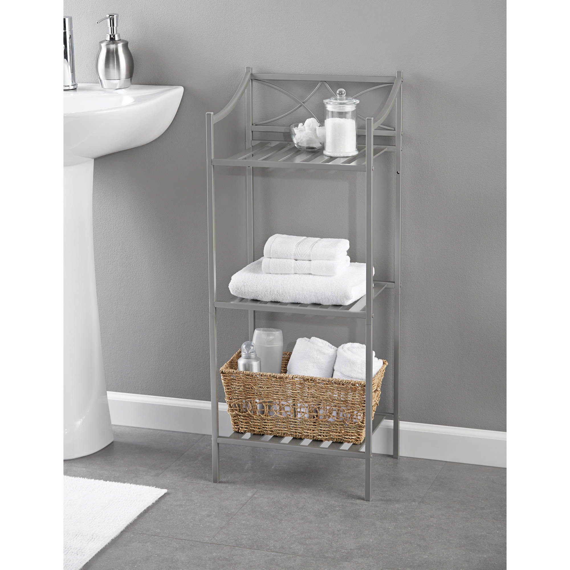 Chapter Lexington Park Bathroom Linen Tower, Satin Nickel