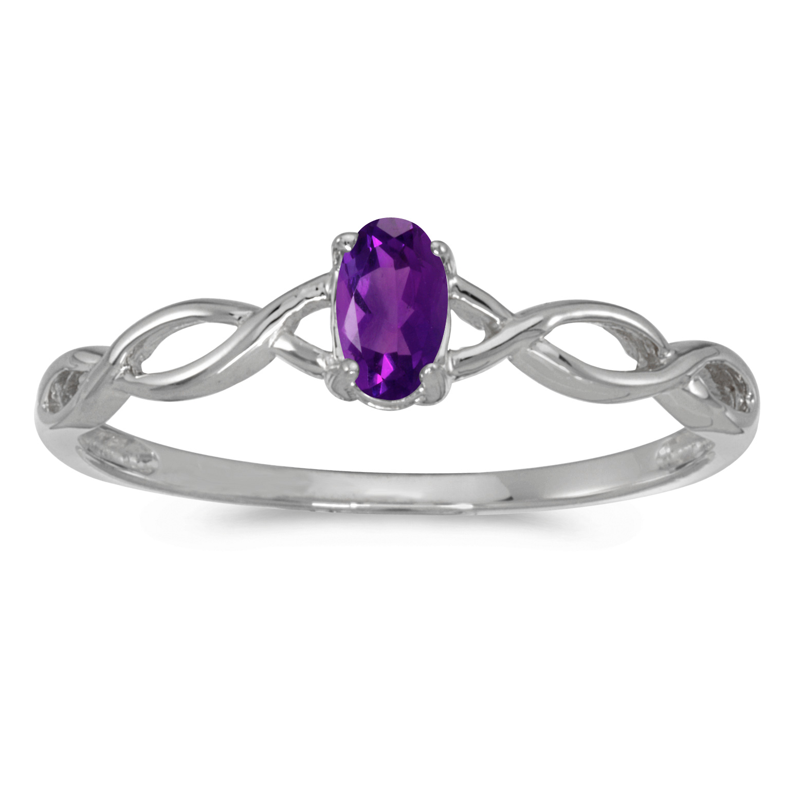 10k White Gold Oval Amethyst Ring by