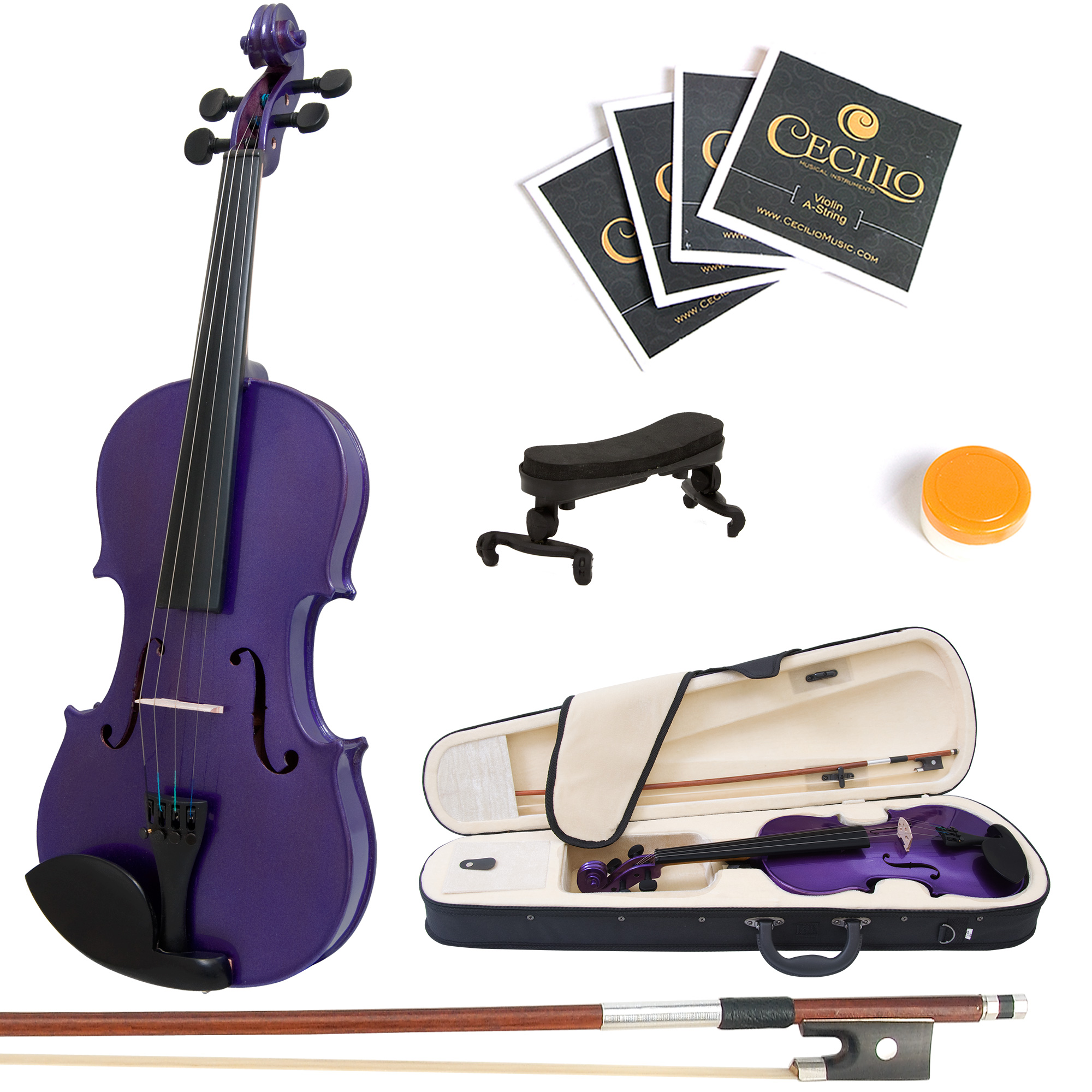 Mendini by Cecilio Size 1/8 MV-Purple Handcrafted Solid Wood Violin with 1 Year Warranty, Shoulder Rest, Bow, Rosin, Extra Set Strings, 2 Bridges & Case, Metallic Purple