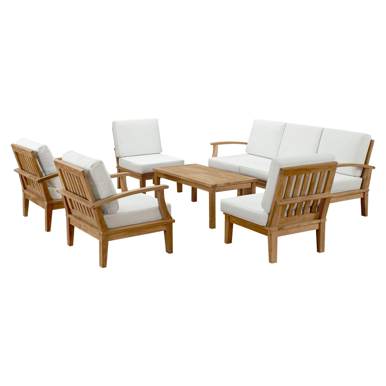 Modway Marina 8 Piece Outdoor Patio Teak Sofa Set in Natural White by Modway
