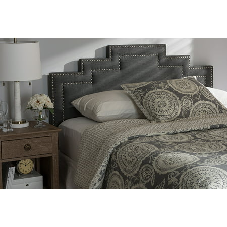 Baxton Studio Sophia Modern and Contemporary Dark Grey Fabric King Size Headboard