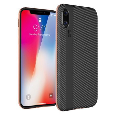 Slp Carbon Fiber - iPhone X Case Luxury Non-Slip Hybrid Rugged Shockproof Slim Carbon Fiber Hard Bumper Protective Case Cover for Apple iPhone X / 10 - Rose Gold
