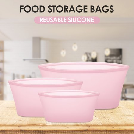 3pcs Reusable Silicone Food Storage Bags Food Preservation Bags Food Container Leakproof for Vegetable Liquid