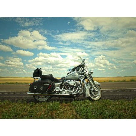 LAMINATED POSTER Harley Blue Sky Trip Sky Travel Road Motorcycle Poster Print 24 x