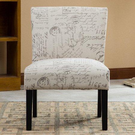 Roundhill Furniture Botticelli English Letter Print Fabric S