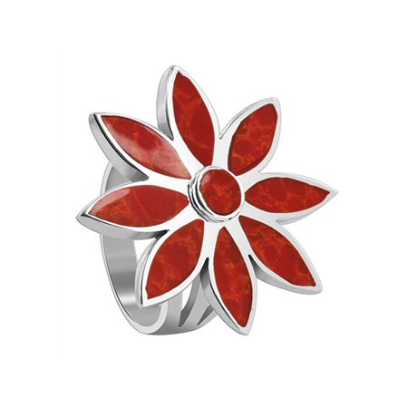 Gemstone Sterling Silver Flower Ring - Gem Avenue 925 Sterling Silver Red Color Coral Flower Shape Ring