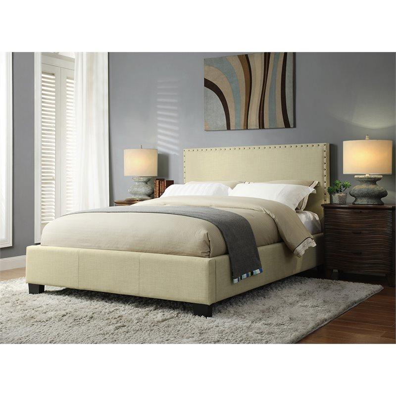 Modus Geneva Upholstered King Platform Storage Bed in Tumbleweed by