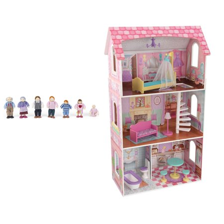 Kidkraft Penelope Soft Pastel Wooden Play Dollhouse With Furniture Doll Family