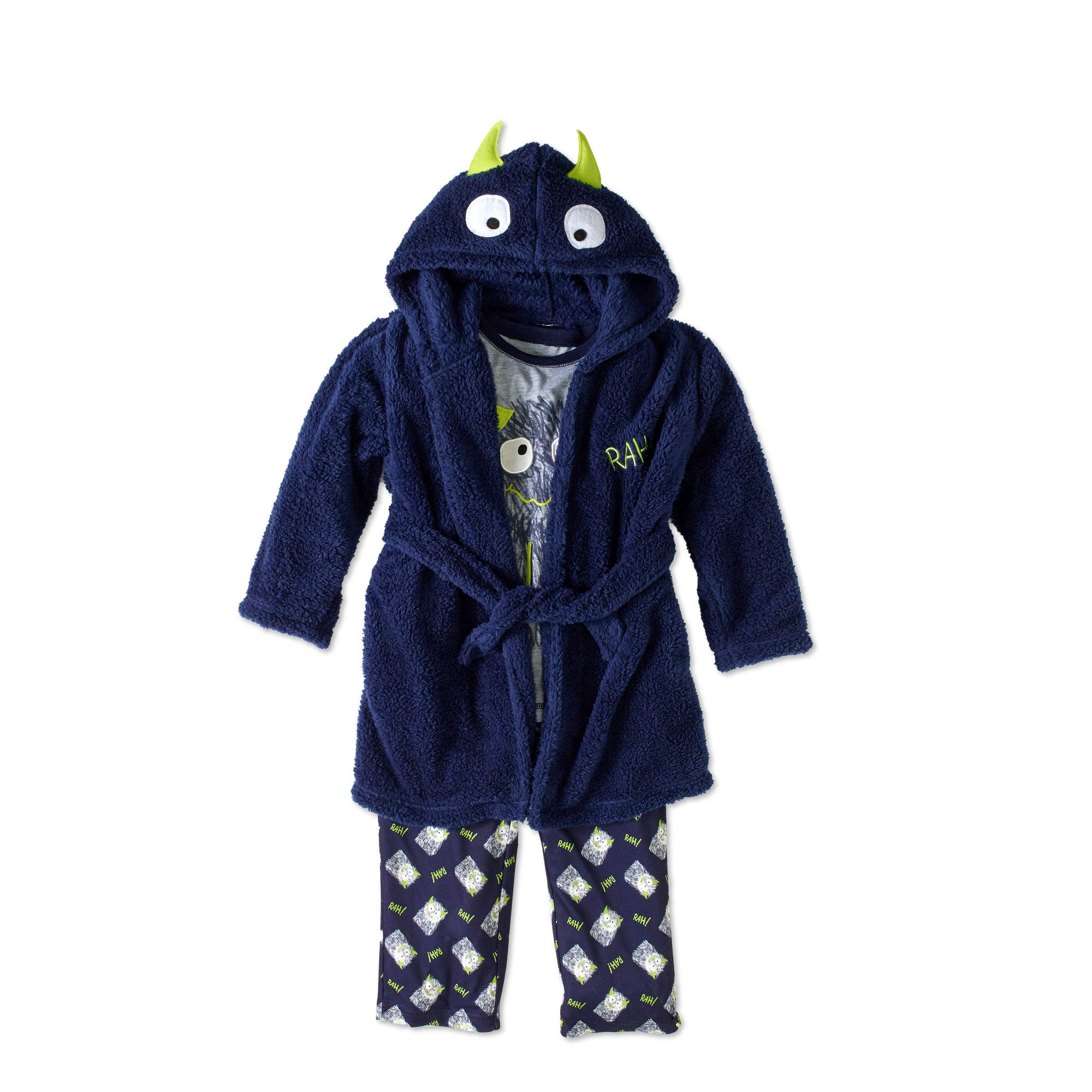 Bunz Kidz Boys' Monster Plush Robe And Sleepwear 3Pc Set