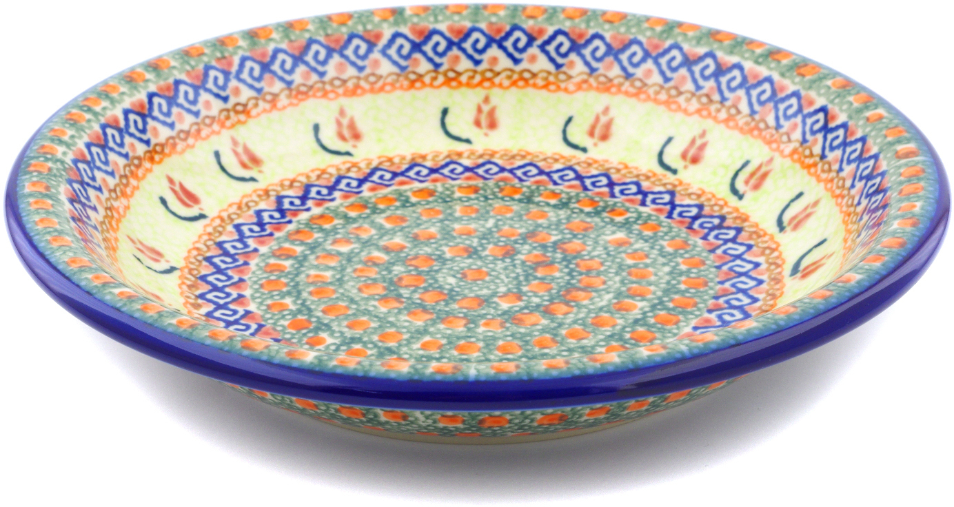 Polish Pottery 9-inch Pasta Bowl (Ring Of Roses Theme) Hand Painted in Boleslawiec, Poland + Certificate of... by Ceramika Bona