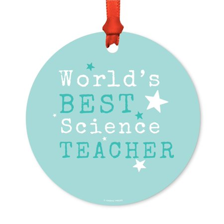 Round Metal Christmas Ornament, World's Best Science Teacher, Includes Ribbon and Gift Bag