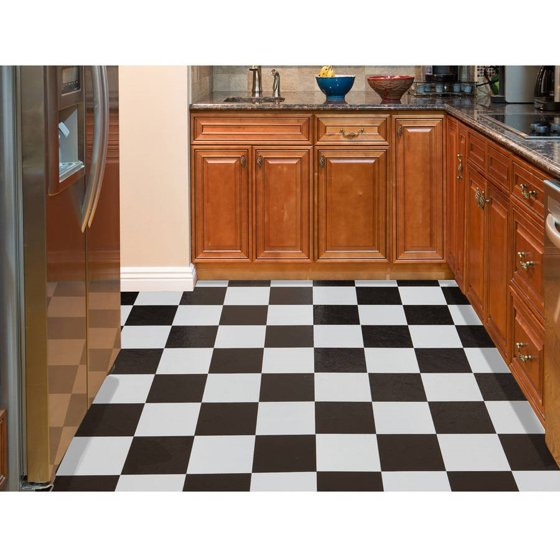 Nexus Black White 12x12 Self Adhesive Vinyl Floor Tile 20 Tiles Sq Ft