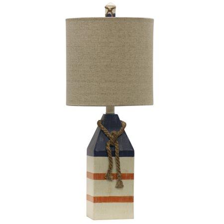 Table Lamp - Blue And Orange Stripe Finish - White Hardback Fabric