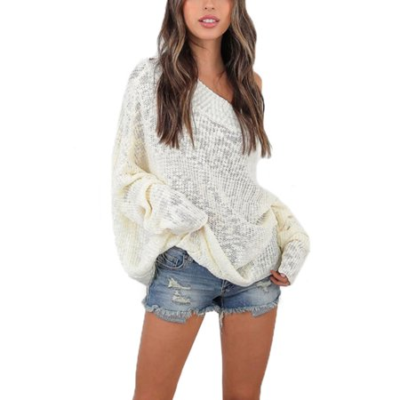 ed1cf7c243c0 Womens Off The Shoulder Chunky Knit Jumper Ladies Baggy Sweater Top Oversize  - Walmart.com