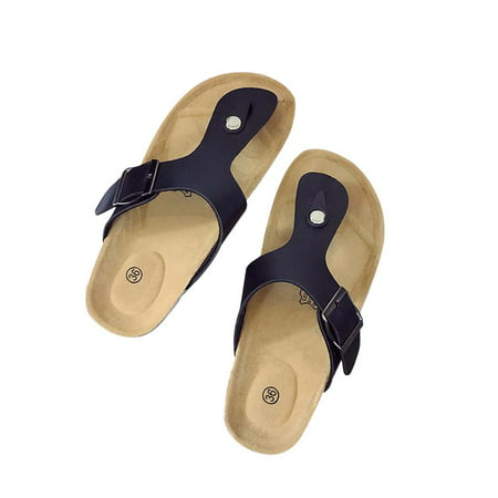 Phoebecat Sandals for Women, Women's Thong Flip Flop Flat Casual Cork Sandals for Ladies, Black Summer Beach Soft Adjustable Buckle Flat Open Toe Slide Shoe for Girls,US-9