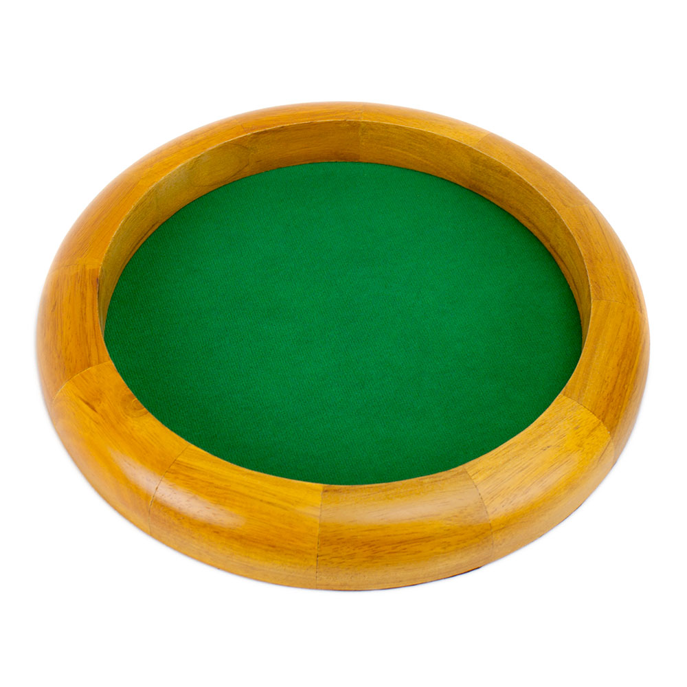 12 Inch Round Wooden Dice Tray with Felt Lined Rolling Surface by Wiz Dice