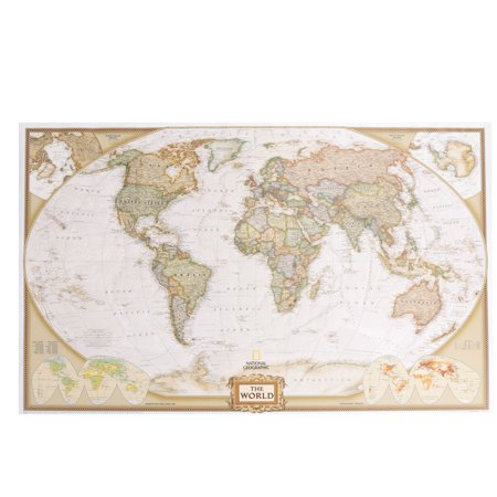 World political wall map executive style antique tones educational world political wall map executive style antique tones educational huge poster giant poster 73 x gumiabroncs Images