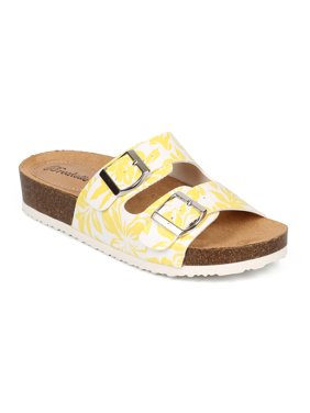 Breckelles CF07 Women Tropical Open Toe Double Buckle Slip On Footbed Sandal bf26328ce8