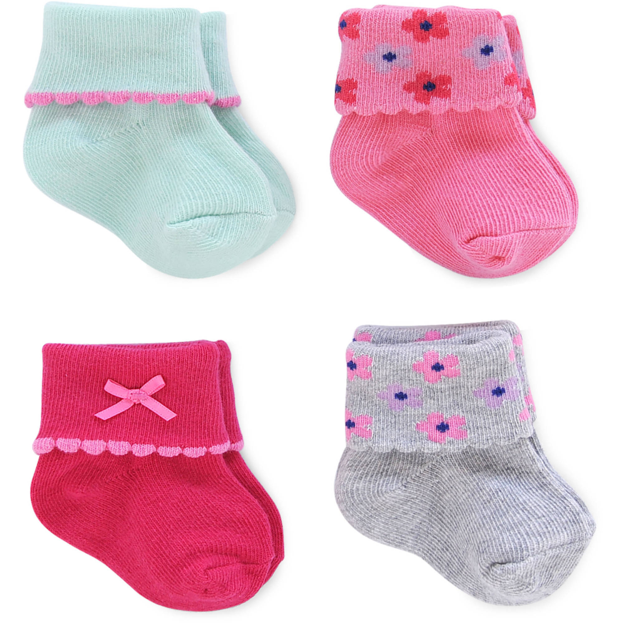 Child of Mine by Carter's Newborn Baby Girl 4Pack Fancy Cuff, 0-6M