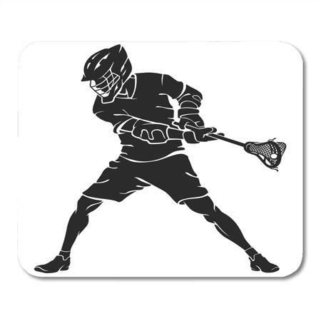 SIDONKU Player Lacrosse Defense Stance Silhouette Stick Action Active Alert Mousepad Mouse Pad Mouse Mat 9x10