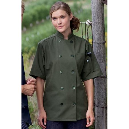 Large Short Sleeve Chef Coat in Olive