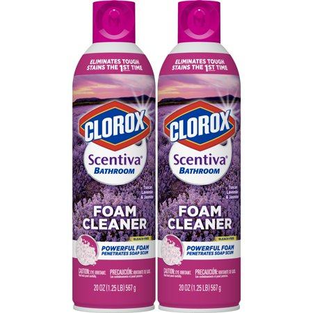 Clorox Scentiva Bathroom Foam Cleaner - Foaming Aerosol Multi-Surface Cleaner - Tuscan Lavender Jasmine - 20 Ounce - Pack of 2