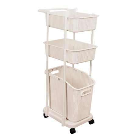 Sundale Indoor Laundry Basket Cart with Wheels Clothing Bin Toy Snack Organizer Decorative Laundry Hamper Space Saving, Beige ()