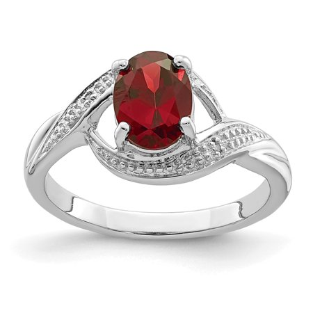 925 Sterling Silver Red Garnet Diamond Band Ring Size 7.00 Stone Gemstone Fine Jewelry Ideal Gifts For Women Gift Set From Heart