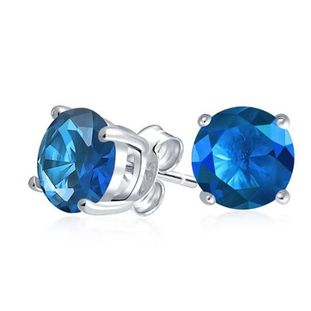 925 Sterling Silver Blue 1 Ct Round CZ Stud Earrings