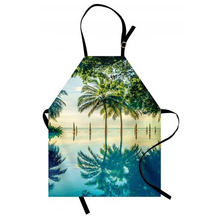 Landscape Apron Pool with Trees on the Surface No Filter Region Hot Spot Climate on Earth Theme, Unisex Kitchen Bib Apron with Adjustable Neck for Cooking Baking Gardening, Green Blue, by Ambesonne (Fully Adjustable Surface Spot)
