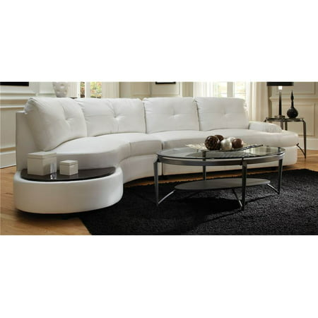 Contemporary sectional sofa with built in table walmartcom for Sectional sofa with table attached