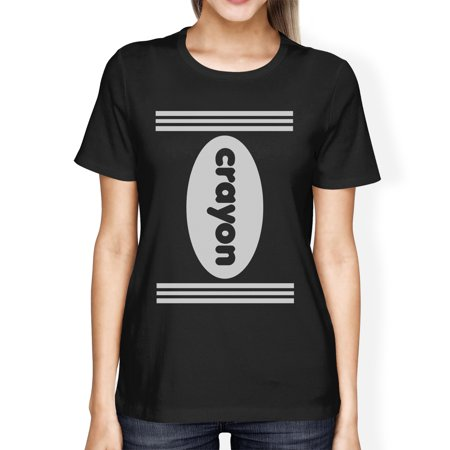 Crayon Womens Black Graphic T-Shirt Round Neck Halloween Tee Shirt](Black Tooth Wax Halloween)