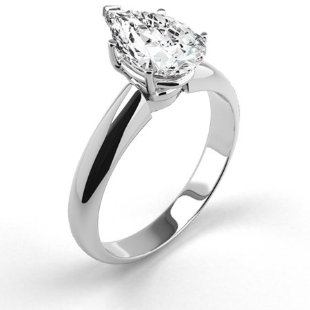 Platinum Engagement Ring Natural Diamond 1.07 Carat Weight Pear Shaped G