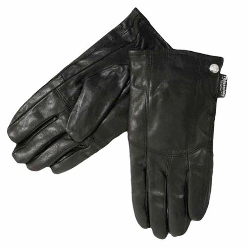 Luxury Divas Men's Black Leather 3m Thinsulate Warm Gloves Size Large