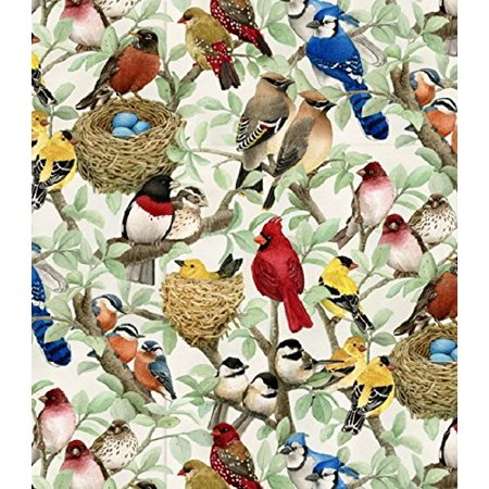 Scene Quilt Fabric - Elizabeth's Studio Beautiful Birds Quilt Fabric By The Yard