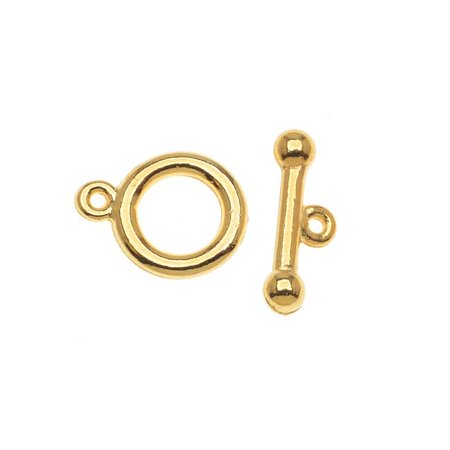 Crimp Toggle Clasps (22K Gold Plated Toggle Clasps 9mm (5)