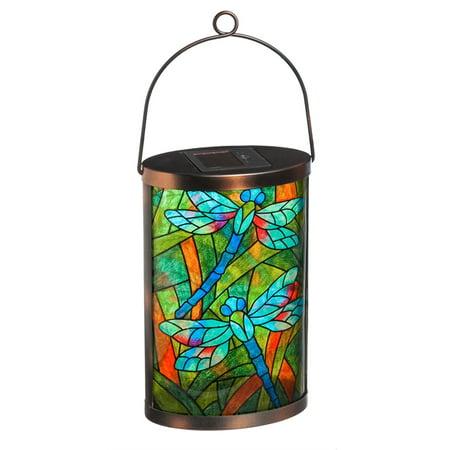 Solar Lantern, Tiffany Inspired Dragonfly Tiffany Inspired Bezel