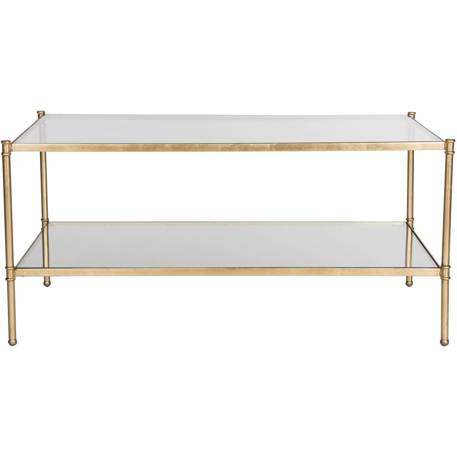 "Safavieh Aslan 42"" Width Iron Coffee Table, Antique Gold w  Glass Top by Safavieh"