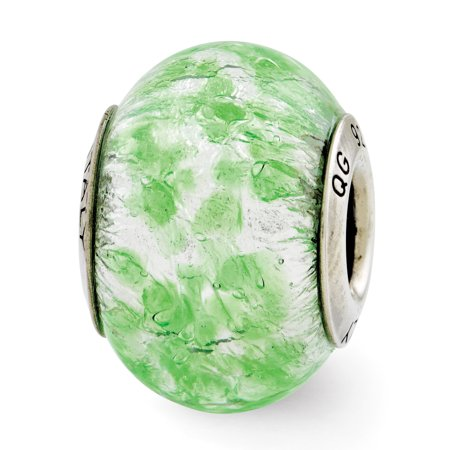 Sterling Silver Reflections Green/White Italian Murano Glass Bead QRS2783