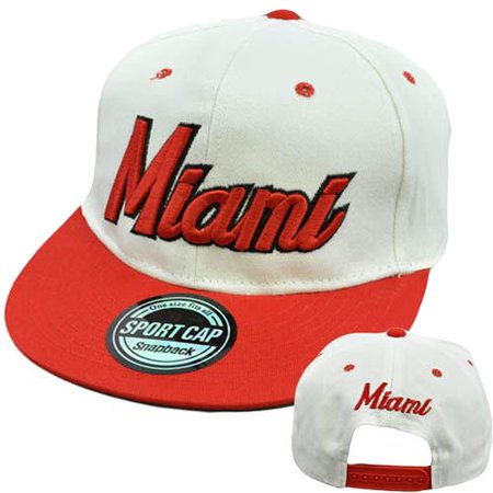 Miami Florida South Beach City Town Flat Bill Brim Snapback 100% Cotton Hat - Party City In South Miami