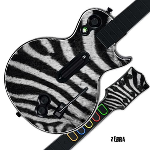 Mightyskins Protective Skin Decal Cover Sticker for GUITAR HERO 3 III PS3 Xbox 360 Les Paul - Zebra