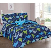 6-PC TWIN SHARK  BLUE Complete Bed In A Bag Comforter Bedding Set With Furry Friend and Matching Sheet Set for Kids
