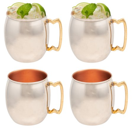 - Old Dutch 4 Pack Inside Out 16oz Moscow Mule Mugs Solid Copper Drink Cup Set Nickel Plated with Handle