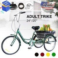 """24"""" 3-Wheel Bike Adult Tricycle with Bell Lock Dust Bag Brake & Basket 220lbs GREEN"""