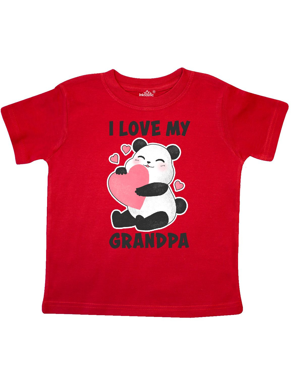 I Love My Grandpa with Panda Illustration Toddler T-Shirt